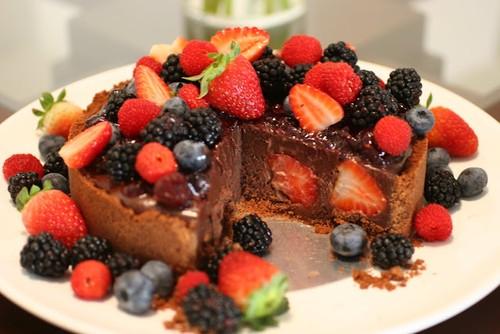 Torta de frutas com chocolate!
